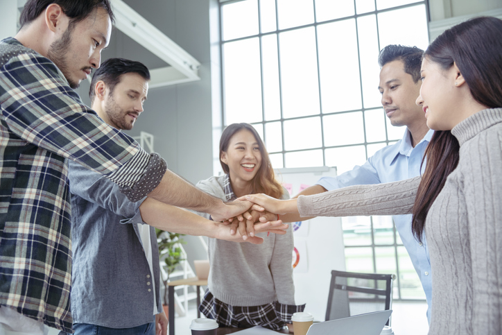 Partner Business Teamwork Trust Partnership.Businessman fist bump dealing business working industry contractor. Success mission team meeting together.Group of People Hands together. Business Concept